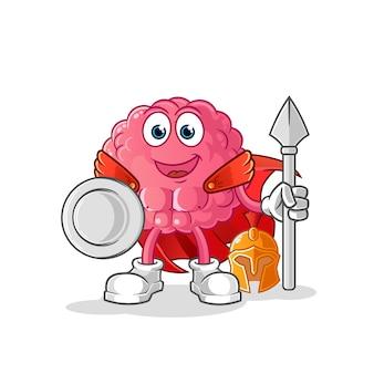Personagem espartano do cérebro. mascote dos desenhos animados
