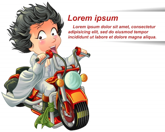 Personagem está montando poderosa motocicleta vermelha rápida.