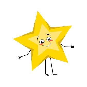 Personagem estrela com emoções felizes sorriso rosto olhos braços e pernas espaço e símbolo do tempo