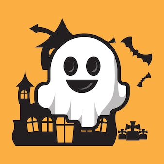 Personagem fantasma fofa celebração do dia das bruxas