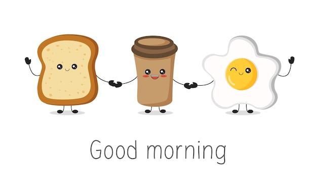 Personagem feliz fofa kawaii ovo frito café e torradas cartão de bom dia