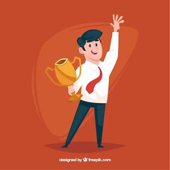Personagem feliz ganhando um prêmio com design plano