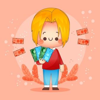 Personagem feliz segurando notas de iene