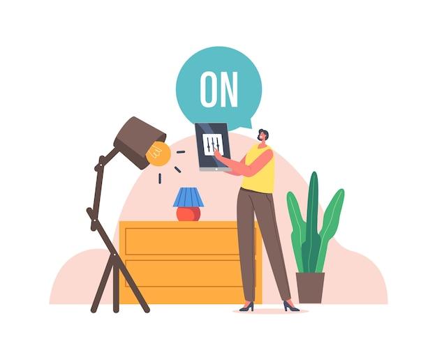 Personagem feminina alterar as configurações no tablet controlar remotamente as lâmpadas de incandescência. smart home, house iot
