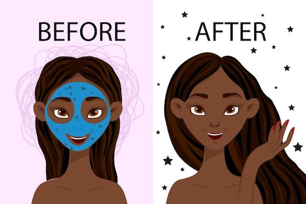 Personagem feminina antes e depois da máscara cosmética