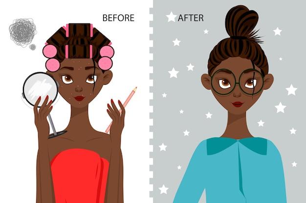 Personagem feminina antes e depois do penteado e maquiagem
