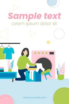 Personagem feminina carregando ilustração plana da máquina de lavar