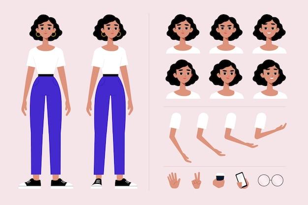 Personagem feminina coloca coleção de ilustração