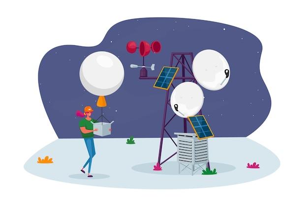 Personagem feminina com balão de ar de sonda meteorológica na estação meteorológica