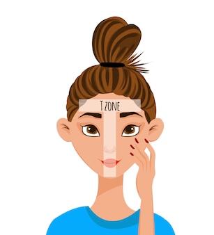 Personagem feminina com um esquema de áreas de pele do rosto.