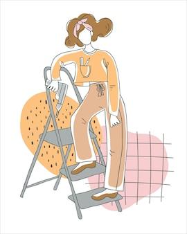 Personagem feminina com uma furadeira em uma escada