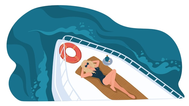 Personagem feminina deitada no navio, lazer de verão e férias no iate. personagem tomando banho de sol por boia salva-vidas inflável. mulher rica descansando ao ar livre. viagem e viagens. vetor em estilo simples