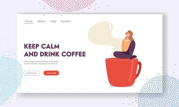 Personagem feminina, descansando em modelo de página inicial de local recreativo. mulher minúscula relaxando na pausa para o café sentar na xícara fumegante enorme, café ou restaurante de visita de menina. ilustração em vetor de desenho animado