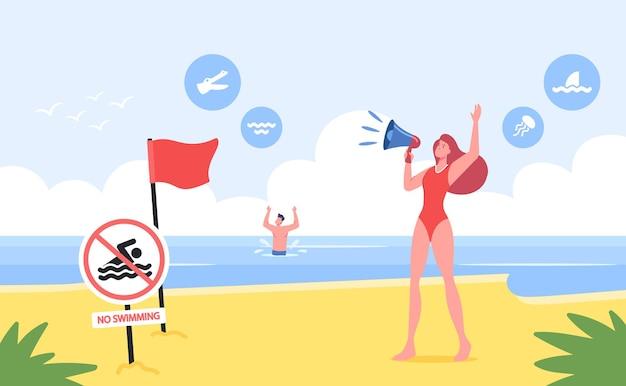 Personagem feminina do salva-vidas gritar para o megafone na costa arenosa com a bandeira de advertência vermelha, nenhuma placa de proibição de natação, homem se afogando no mar. situação perigosa na praia. ilustração em vetor desenho animado