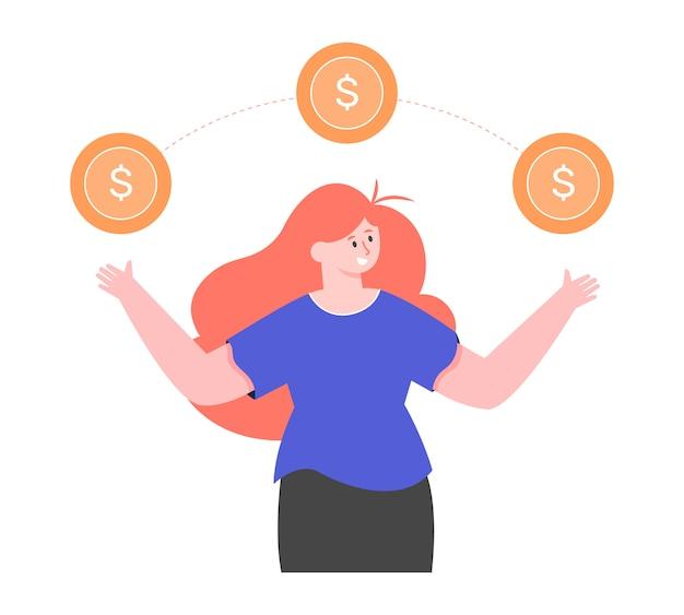 Personagem feminina e moedas de ouro com um cifrão. economizando e aumentando dinheiro. finanças pessoais. investimentos e receitas. ilustração plana.