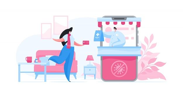 Personagem feminina em quarentena, comprando medicamentos no aplicativo de farmácia on-line