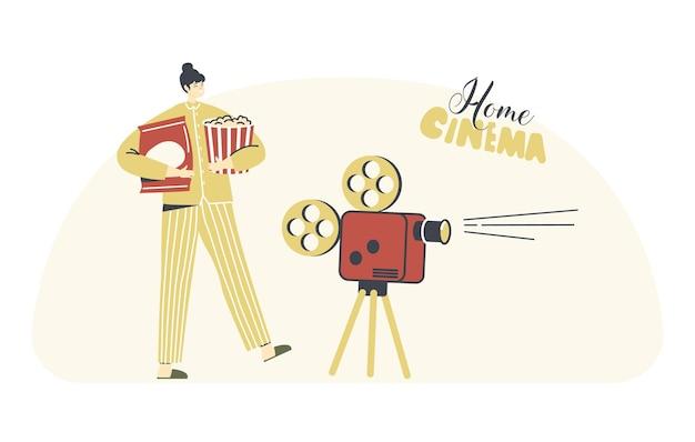 Personagem feminina em recreação de cinema em casa de pijama Vetor Premium