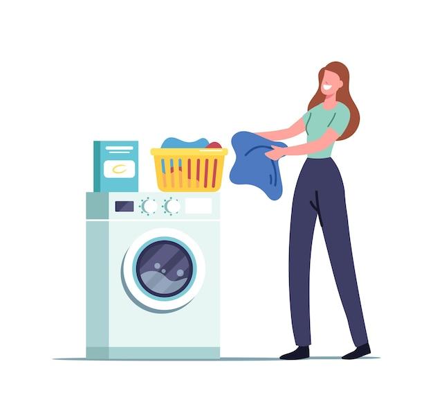 Personagem feminina em uma lavanderia pública ou banheiro, colocando roupas limpas no cesto, carregando roupas sujas na máquina de lavar roupas