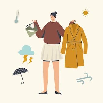 Personagem feminina escolhendo roupas para andar ao ar livre