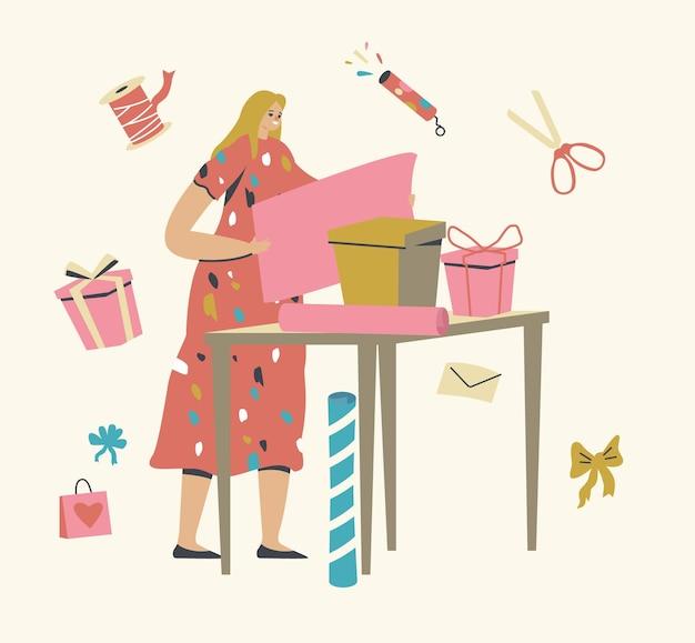 Personagem feminina fazendo e embalando presentes para a celebração de feriados, caixas de embrulho femininas com papel decorativo e laços