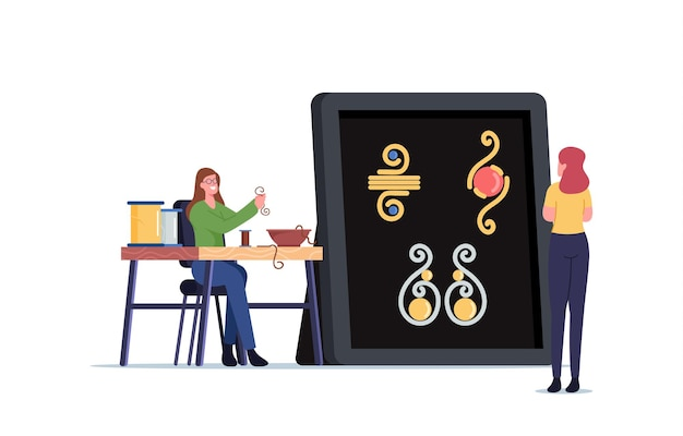 Personagem feminina fazendo joias de corda de fio de cobre e contas coloridas no fio. artesanato criativo, hobby feito à mão. mulher criar pulseira ou colar conceito bijuteria. ilustração em vetor de desenho animado