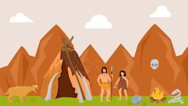 Personagem feminina masculina antiga caça pré-histórico tigre ilustração vetorial plana. tribo na caça animais selvagens natureza caçador pele predador.