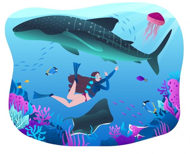 Personagem feminina, mergulho, nadar com tubarão, oceano perigoso, mar, mulher, explorar a flora da água, fauna, ilustração plana.