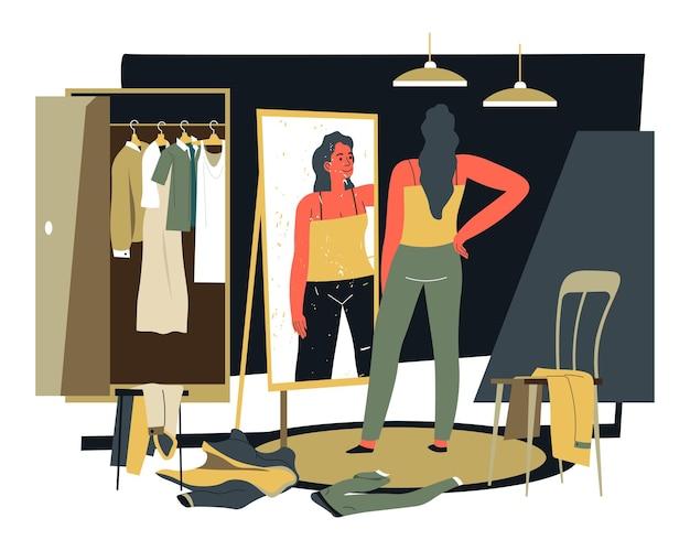 Personagem feminina no vestiário olhando para roupas e roupas no espelho