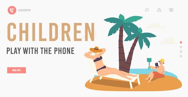 Personagem feminina perdeu modelo de página inicial do telefone. mulher bronzeamento artificial na chaise longue enquanto criança brincando com smartphone caro cavando na areia da praia. ilustração em vetor desenho animado