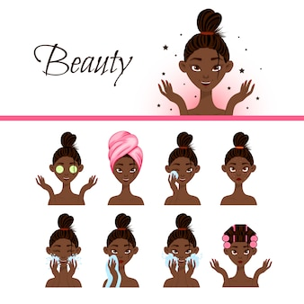 Personagem feminina preta com diferentes procedimentos cosméticos para o rosto. estilo dos desenhos animados. ilustração.