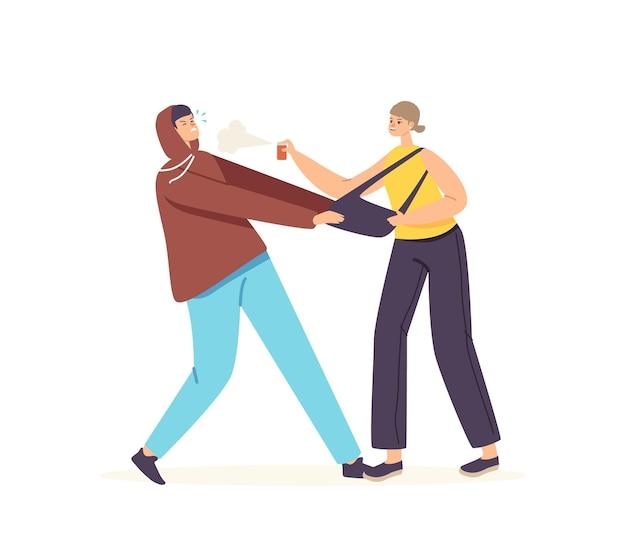 Personagem feminina refletindo balão de gás de pulverização de ataque de roubo no rosto para bandido puxando sua bolsa. autodefesa para proteção da vida