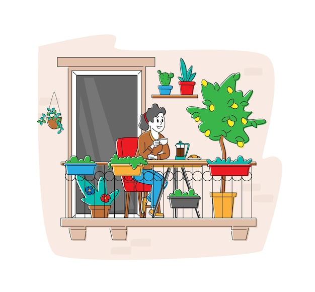 Personagem feminina relaxada, sentada na poltrona confortável e bebendo café na varanda da casa com flores e plantas em vasos.