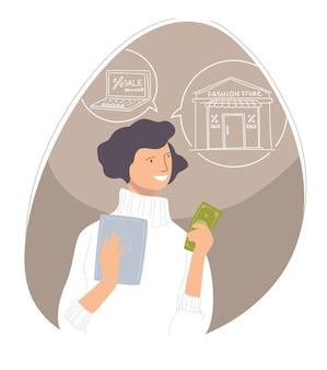 Personagem feminina segurando dinheiro nas mãos, pensando no que comprar. comprar e comprar roupas e produtos da moda em uma loja ou loja. consumismo e gasto de salário. vetor em estilo simples