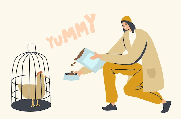 Personagem feminina segurando pacote com comida seca para pássaros, mulher despeje lanche seco no prato para alimentar frango sentado na gaiola, amor e cuidado com animais domésticos, animais de estimação