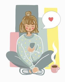 Personagem feminina sentada no chão com uma xícara de chá e um telefone