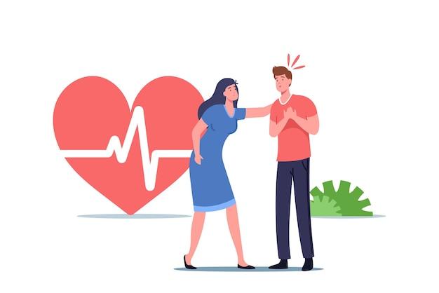 Personagem feminina tentando ajudar transeunte doente com ataque cardíaco, conceito de primeiros socorros. homem segurando o tórax precisa de cuidados médicos de rcp de ressuscitação cardiopulmonar. ilustração em vetor desenho animado