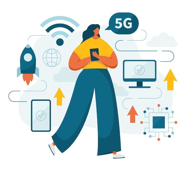 Personagem feminina usando a rede 5g. padrão de telecomunicações de quinta geração com smartphones