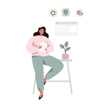 Personagem feminina, verificando seu calendário ou clima e fazendo tarefas usando o tablet. ilustração vetorial plana