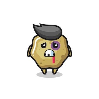 Personagem ferido em fezes soltas com rosto machucado, design de estilo fofo para camiseta, adesivo, elemento de logotipo