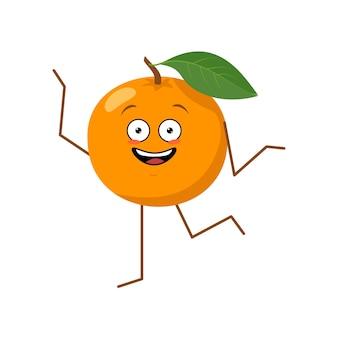Personagem fofa alegre laranja com emoções dançando herói engraçado ou triste