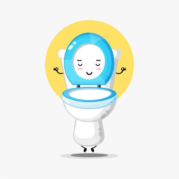 Personagem fofa com assento sanitário meditando em pose de ioga