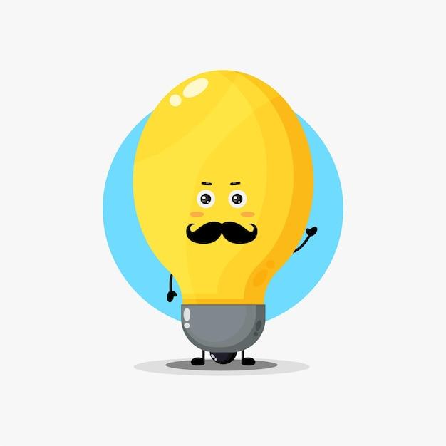 Personagem fofa da lâmpada com bigode