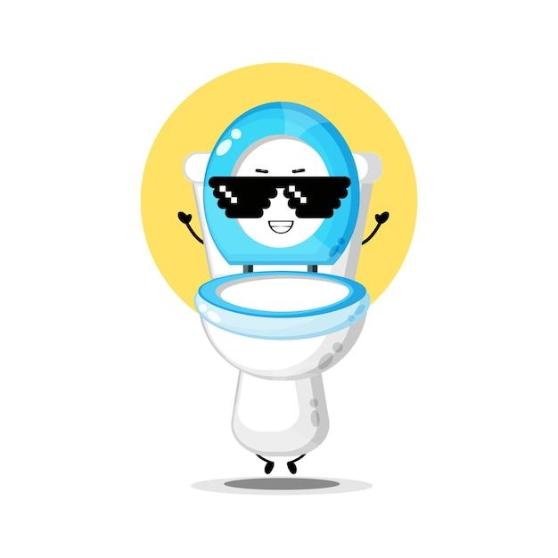 Personagem fofa de assento de vaso sanitário usando óculos de pixel
