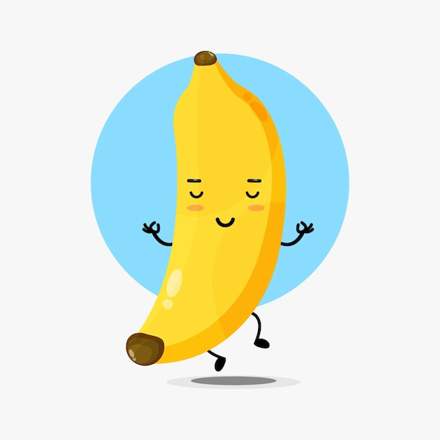 Personagem fofa de banana em pose de ioga