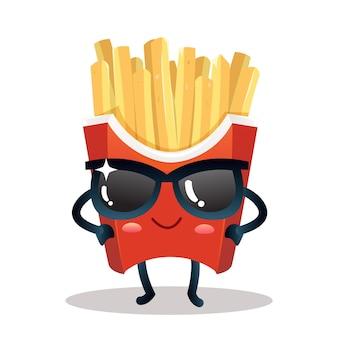 Personagem fofa de batata frita usando óculos