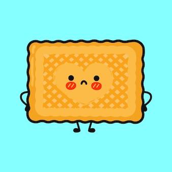 Personagem fofa de biscoitos tristes