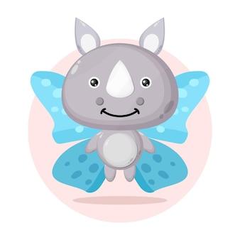 Personagem fofa de borboleta rinoceronte