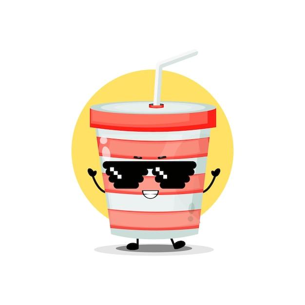 Personagem fofa de copo de refrigerante usando óculos de pixel
