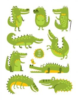 Personagem fofa de crocodilo em poses diferentes adesivos infantis