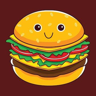 Personagem fofa de hambúrguer em estilo design plano